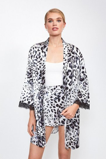 Leopard Satin Animal  Print Kimono Wrap