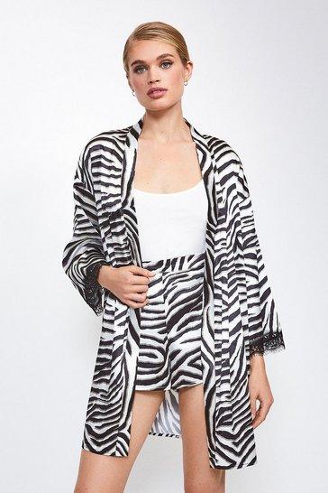 Zebra Satin Animal  Print Kimono Wrap