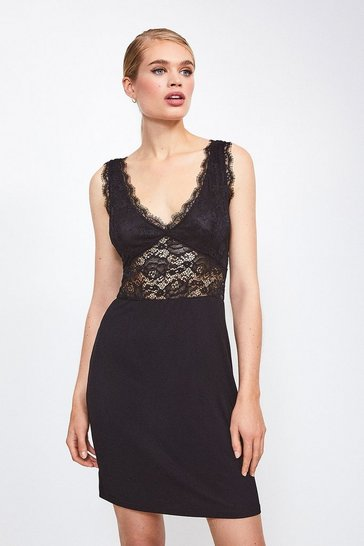Black Stretch Lace And Viscose Jersey Chemise
