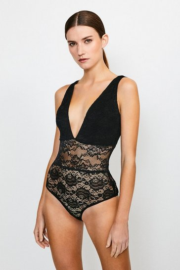 Black Lace Halter Neck Plunge Body