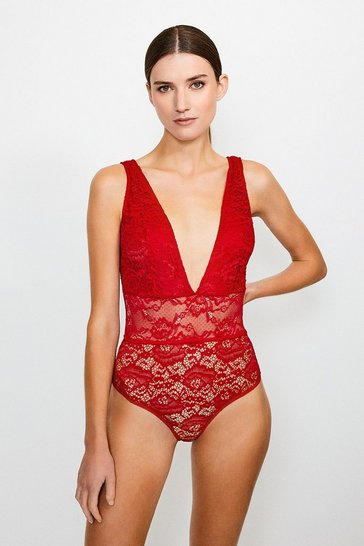 Fire red Lace Halter Neck Plunge Body