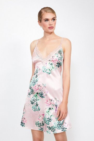 Pink Satin Floral Print Lace Trim Chemise