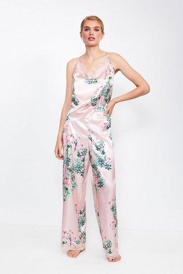 Pink Floral Print Satin Pj Pant