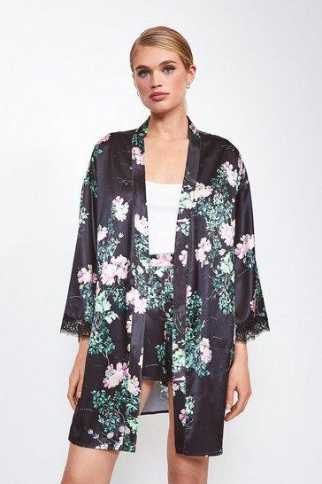 Black Satin Floral Print Kimono Wrap