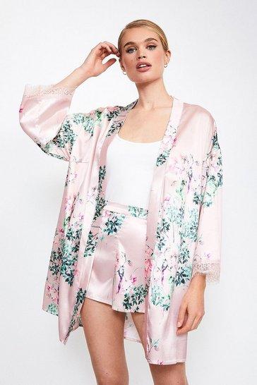 Pink Satin Floral Print Kimono Wrap