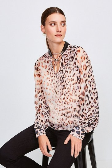 Brown Leopard Print And PU Trim Blouse