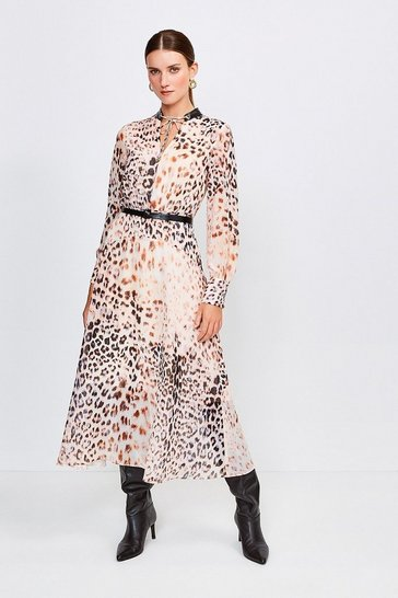 Brown Leopard And PU Trim Midi Dress
