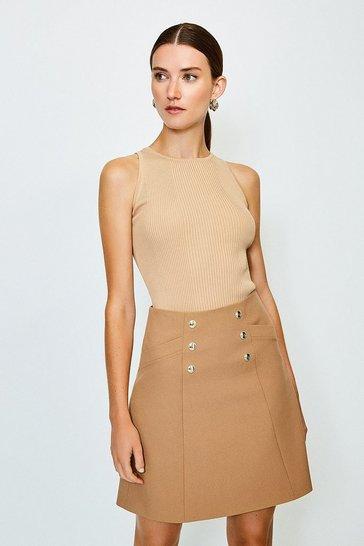 Camel Military Button Mini Skirt