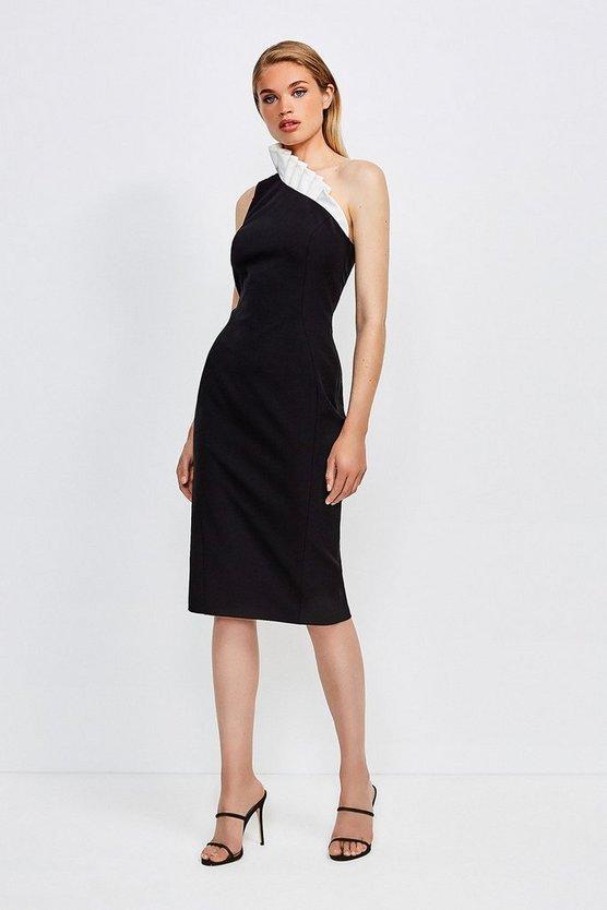 Mono Asymmetric Ruffle Dress
