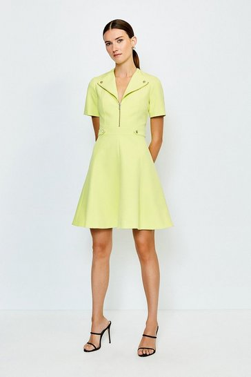 Lime Zip Placket A Line Dress