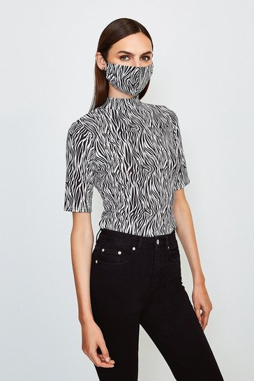 Zebra Short Sleeved Print Funnel Top With Fashion Mask