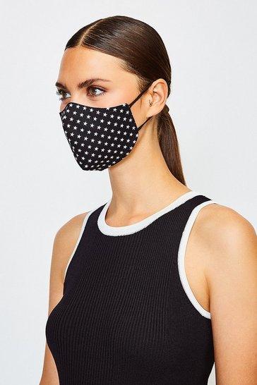 Black Reuseable Fashion Printed Face Mask