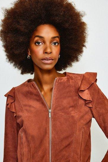 Pink Suede Ruffle Sleeve Jacket