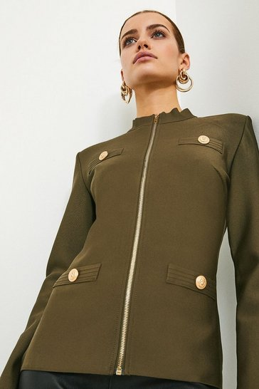 Khaki Military Bandage Knit Jacket