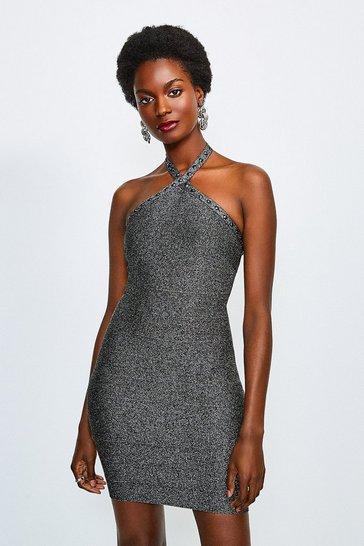 Silver Halter Bandage Dress