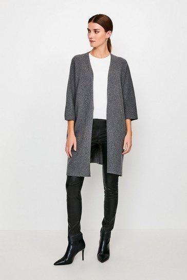 Grey marl Cashmere Oversized Cardigan