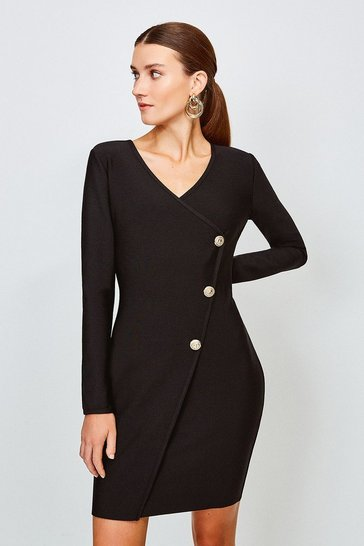 Black Gold Button Faux Wrap Knitted Dress