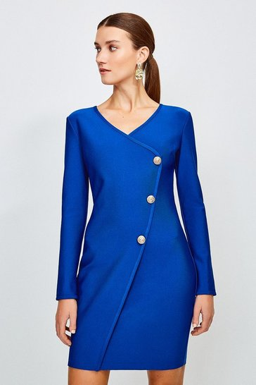 Cobalt Gold Button Faux Wrap Knitted Dress