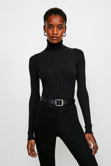 Black Essential Wide Rib Roll Neck