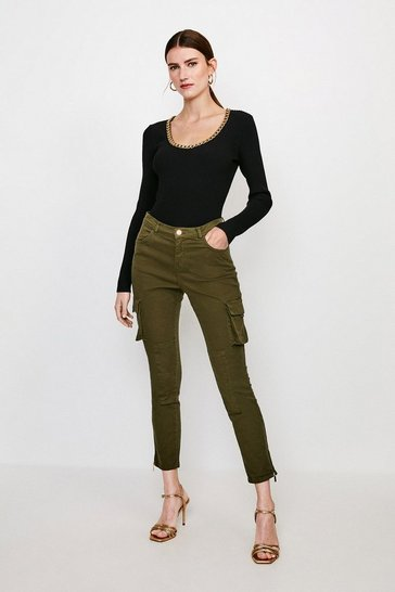 Khaki Pocket and Zip Combat Jean