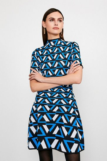 Blue Abstract Knitted Dress