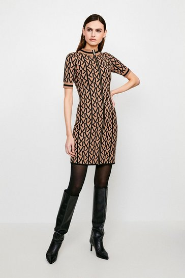 Camel KM Logo Funnel Neck Knitted Dress