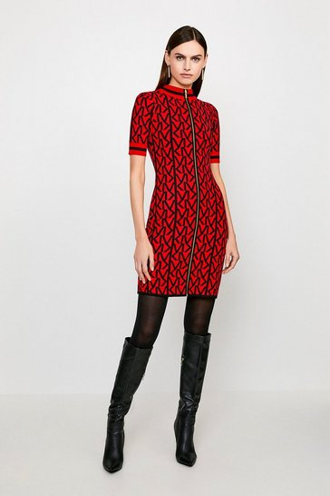 Red KM Logo Funnel Neck Knitted Dress