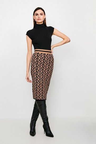 Camel KM Logo Knitted Skirt