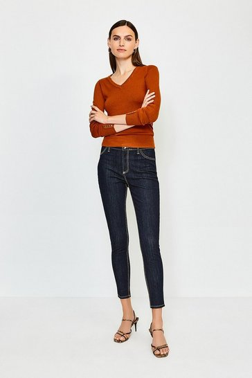 Dark wash Contrast Top Stitch Jean