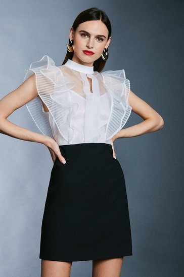 Mono Organza Ruffle Bodice Tailored A Line Dress
