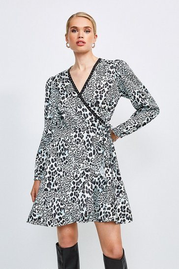 Animal Printed Wrap Dress Studded Trim