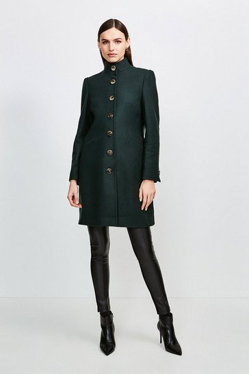 Green Multistitch Wool Blend Funnel Neck Coat