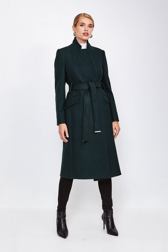 Green Classic Notch Collar Coat