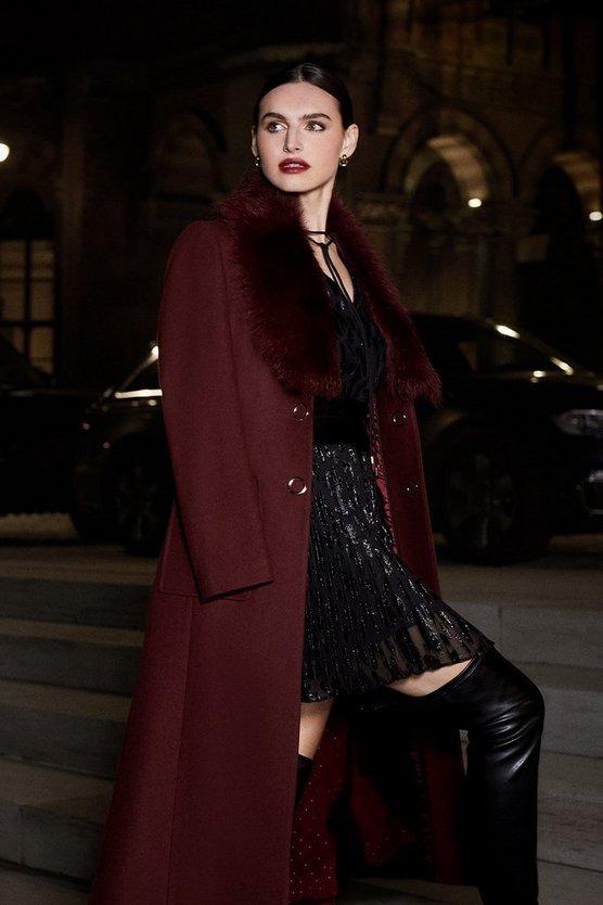 Fig Long Pile Collar Coat