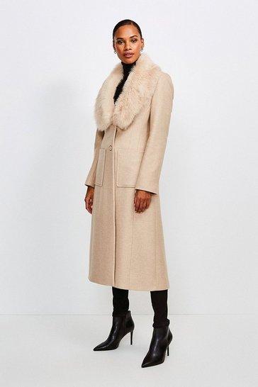 Natural Long Pile Collar Coat