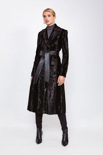 Black Signature Ponyskin Coat