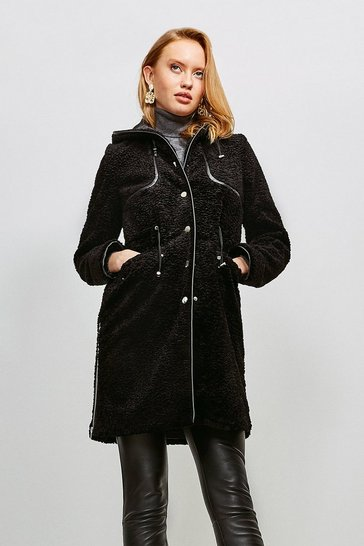 Black Signature Faux Astrakhan Stud Parka Coat