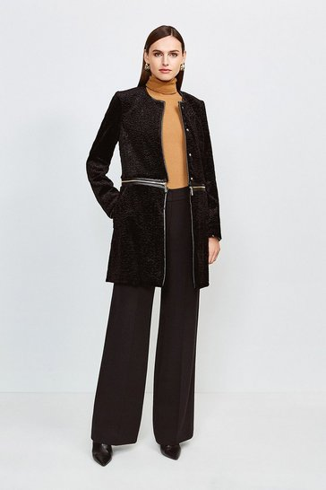 Black Signature Faux Astrakhan Zip Coat