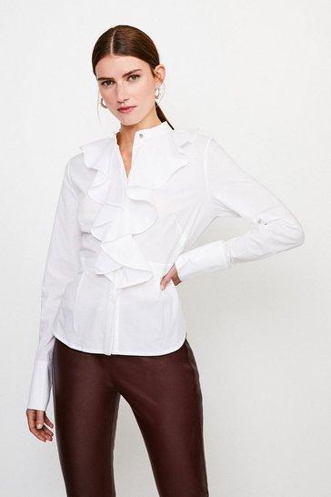 White Cotton Ruffle Detail Sleeved Shirt
