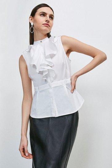 White Cotton Ruffle Detail Shirt