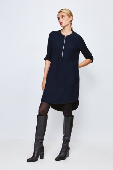 Navy Zip Front Relaxed Tailored Dress