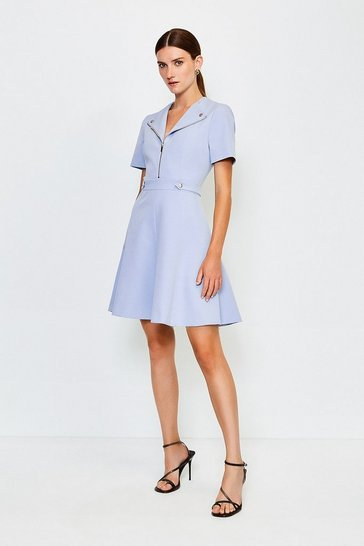 Pale blue Zip Placket A Line Dress