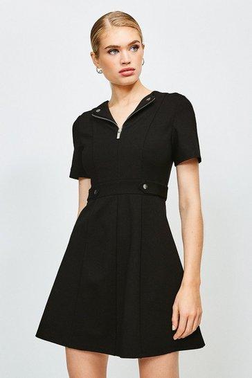 Black Zip Front Ponte Short Sleeve Dress