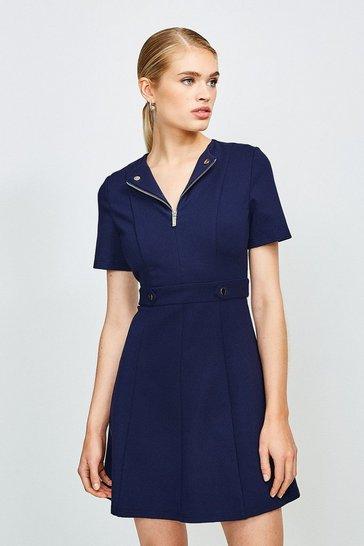 Navy Zip Front Ponte Short Sleeve Dress
