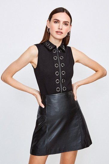 Black Collared Eyelet Ponte Top