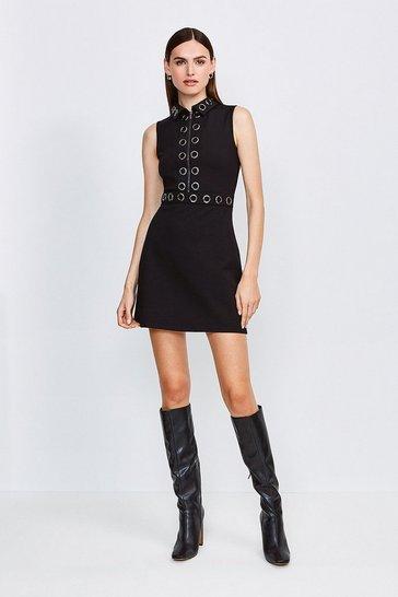 Black Collared Eyelet Ponte Dress