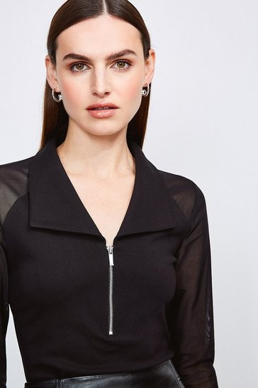Black Mesh Shoulder Zip Neck Ponte Top