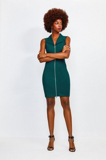 Green Mesh Shoulder Zip Through Ponte Dress