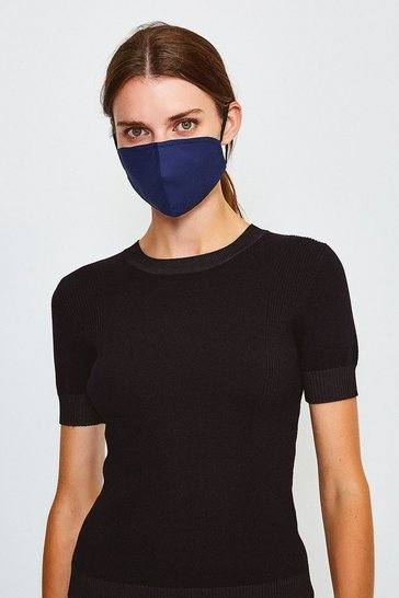 Navy Reuseable Fashion Face Mask With Filter