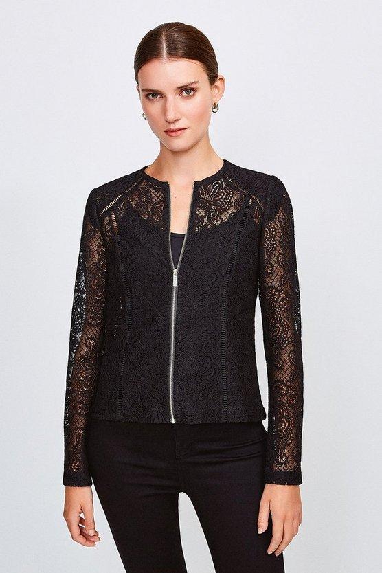 Black Lace Zip Up Long Sleeved Jacket